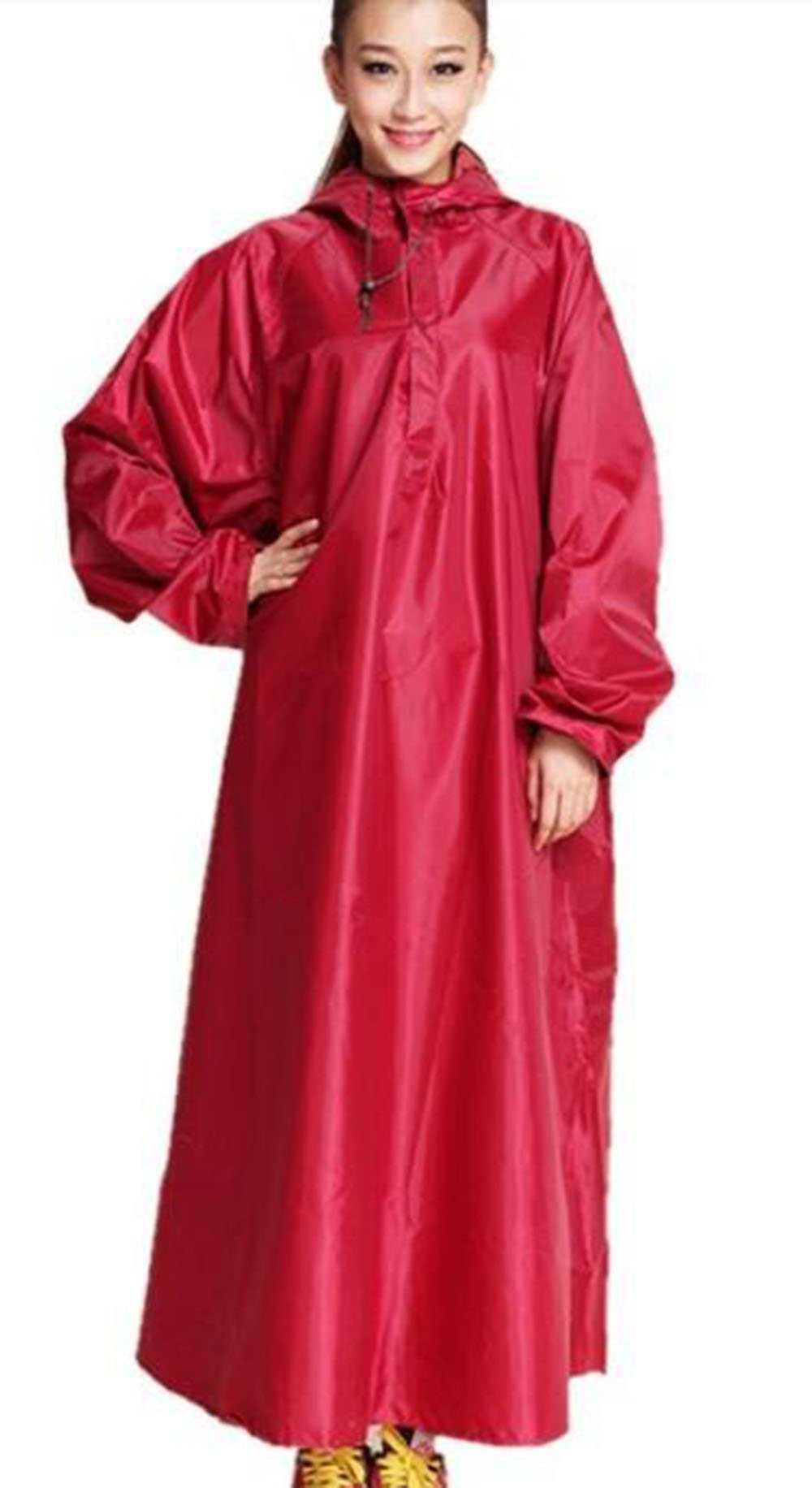 Unisex Hiking/Fishing/Cycling Raincoat Outdoor Rain Cape Poncho (XXXL, Red)
