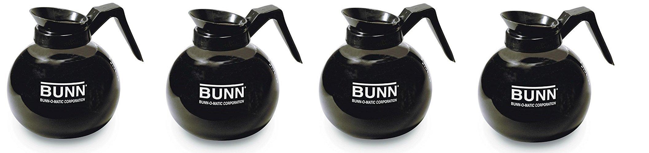 BUNN 12-Cup Glass Coffee Decanter, Black rGzPkV, 4Pack (Coffee Decanter)