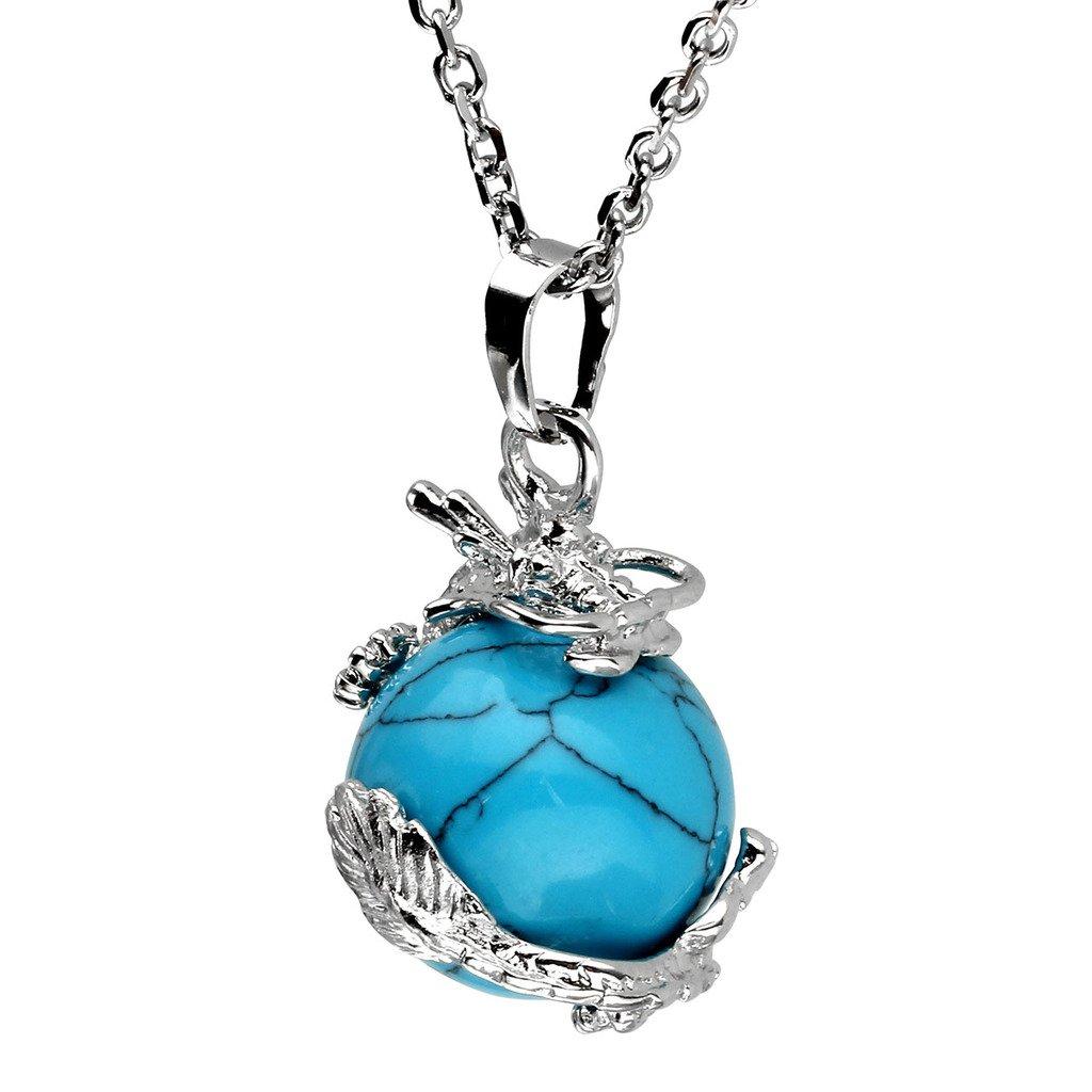 Jovivi 2pc Dragon Wrapped Round Ball Cylinder Gemstone Healing Crystal Pendant Necklaces Set