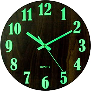 RuiyiF Silent Wall Clock Glow in The Dark Non Ticking, 12 Inch Night Light Wall Clocks Battery Operated Vintage for Living Room Decor/Kitchen/Bedroom Easy to Read (Numeral)