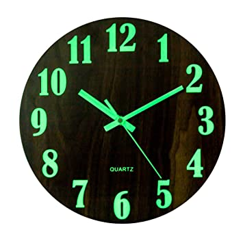 YVSoo 12 Luminoso Reloj de Pared Silencio Silencioso MDF Arte Reloj Cuarzo, 30