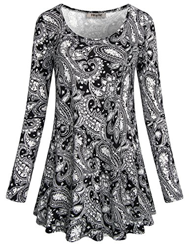 Hibelle Black Tunic Shirts for Women, Ladies Friday Deals Long Sleeve Loose Relaxed Fit Comfy Flowy Paisley Tops 2017 Black Medium