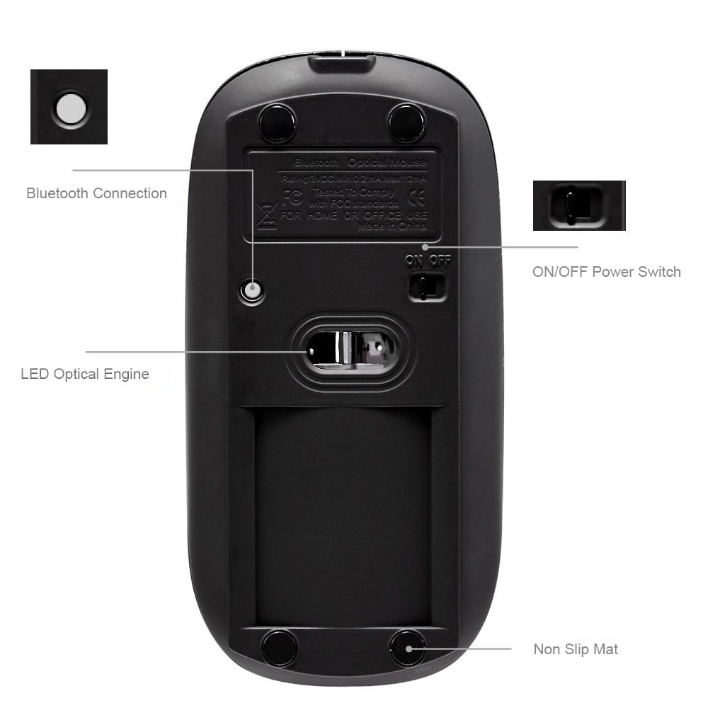 UHURU Rechargeable Bluetooth Wireless Mouse for PC, Mac, Laptop, Android Tablet (Black) by UHURU (Image #4)