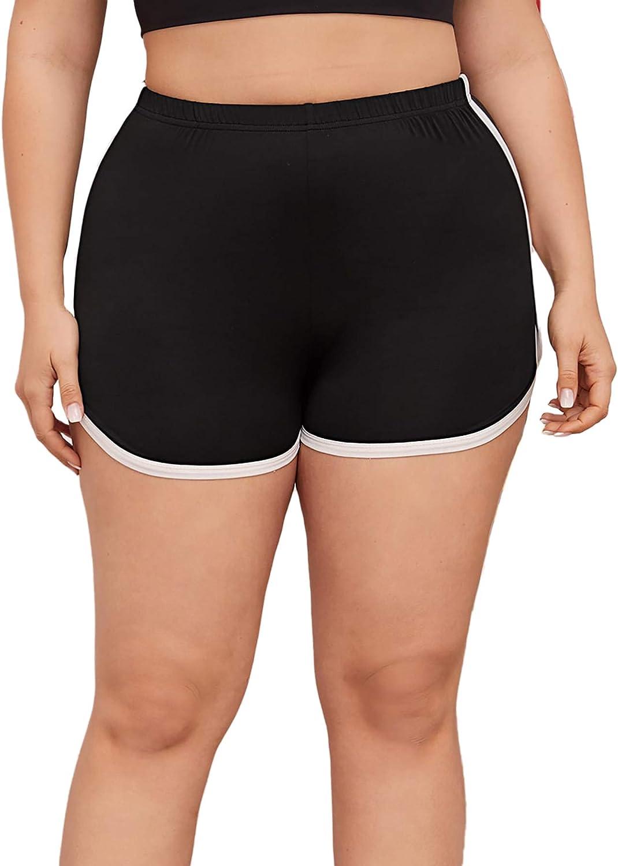 Milumia Womens Plus Size Tie Dye Elastic Waist Fitness Workout Sports Yoga Shorts