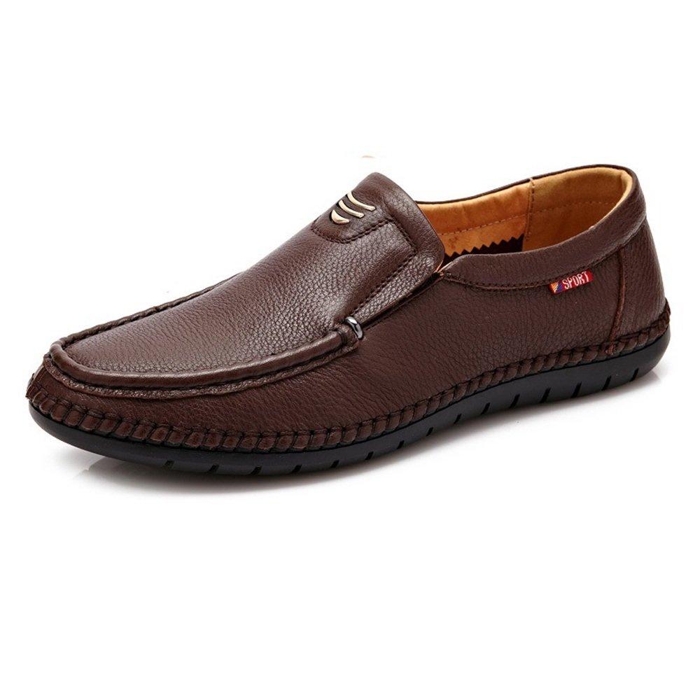 Zapatos de Cuero Genuino Loafer Classic para Hombres Slip-on Suela Plana Suave y Transpirable para los Hombres 43 EU|Brown