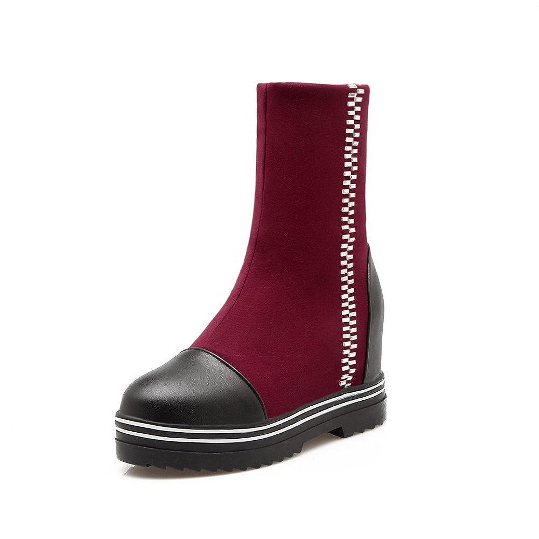AgooLar Damen Rein Blend-Materialien Mittler Absatz Rund Zehe Stiefel mit Metallisch, Schwarz, 33