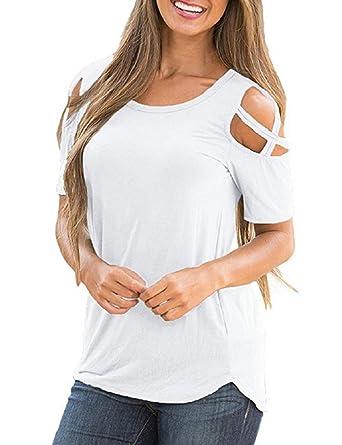 359104d6e3003 Yuson Girl Femme Été Chic Casual Sexy Col Rond Pull Chemises Amples à Épaules  Dénudées Tops