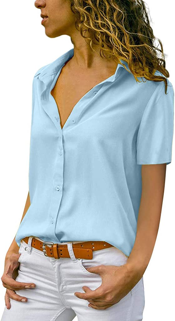 HighlifeS/_Women Tee Top,Fashion V-Neck Chiffon Solid More Colors T-Shirt Office Ladies Plain Short Sleeve Blouse Top