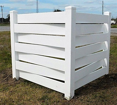 (White Basketweave PVC Fence Corner - Privacy - Driveway/Garden Accent - Garbage Can/AC Unit Enclosure)