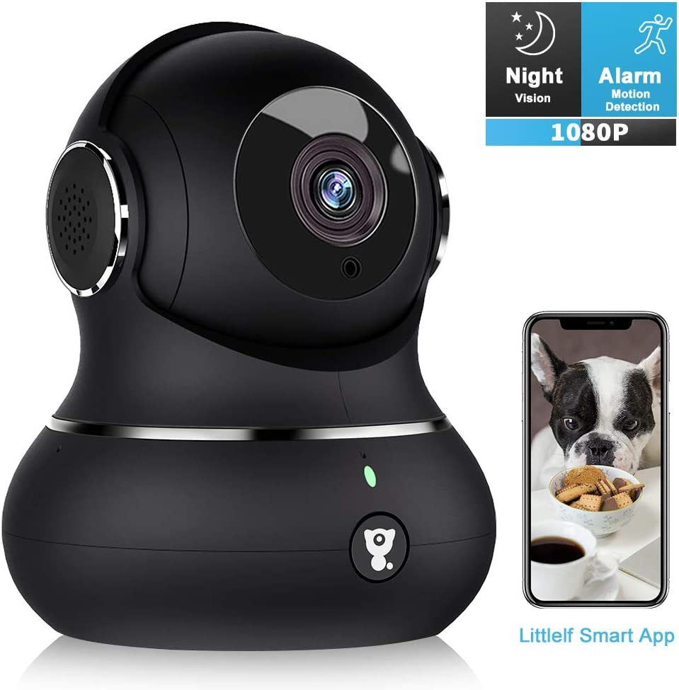 Indoor Security Camera, [2020 Update] Littlelf 1080P Home WiFi Wireless IP Camera for Pet/Baby Monitor with Motion Tracking, 2-Way Audio, Night Vision, Cloud Service, Works with Alexa (Black)