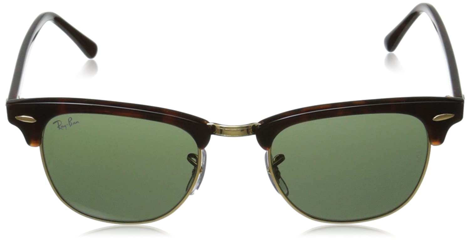 ray ban unisex sunglasses clubmaster  amazon: ray ban clubmaster mock tortoise/ arista frame crystal green lenses 49mm non polarized: ray ban: clothing