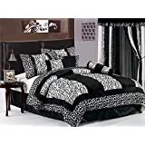 7 Piece Safari - Zebra - Giraffe Print Bed-In-A-Bag Black & White Micro Fur Comforter Set, Queen Size Bedding