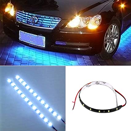 Blue 4PCS 30CM Auto LED Car Motors Truck Flexible Strip Flash Light Waterproof