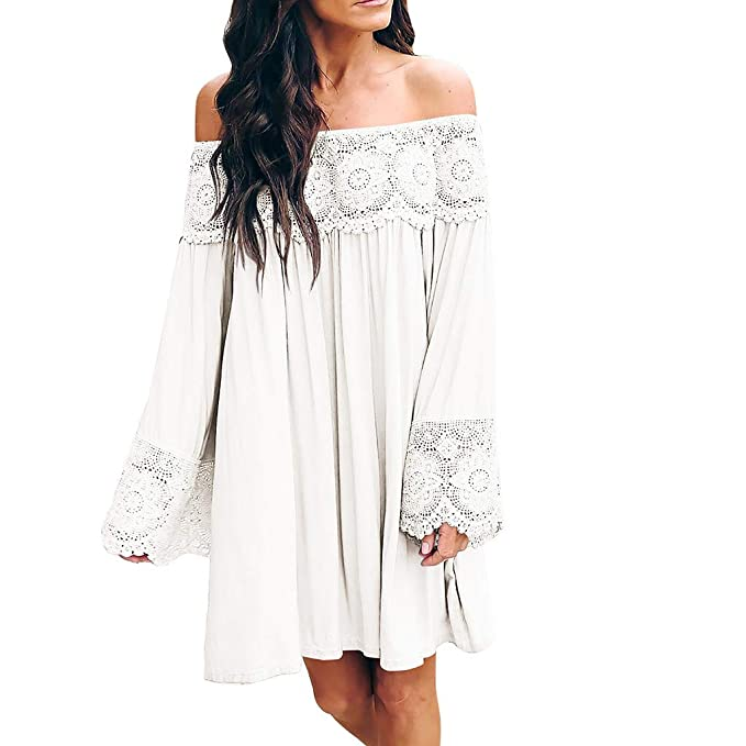 22f89ea84c Women's Off The Shouder Crochet Lace Long Sleeve Casual Loose Fit Mini Dresses  White