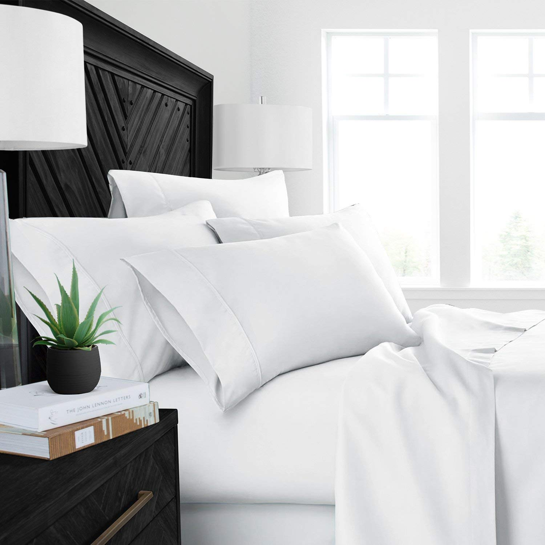 Luxurious Bedding Cal-King Split Sheet Set Egyptian Cotton 800 TC Depth 5-PCs