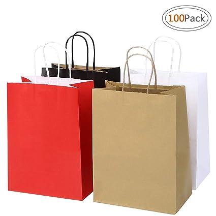 6f431653e0c ROAD 8x4.75x10.5 Inches 100pcs Assorted Kraft Paper Bags, Multi Color Retail