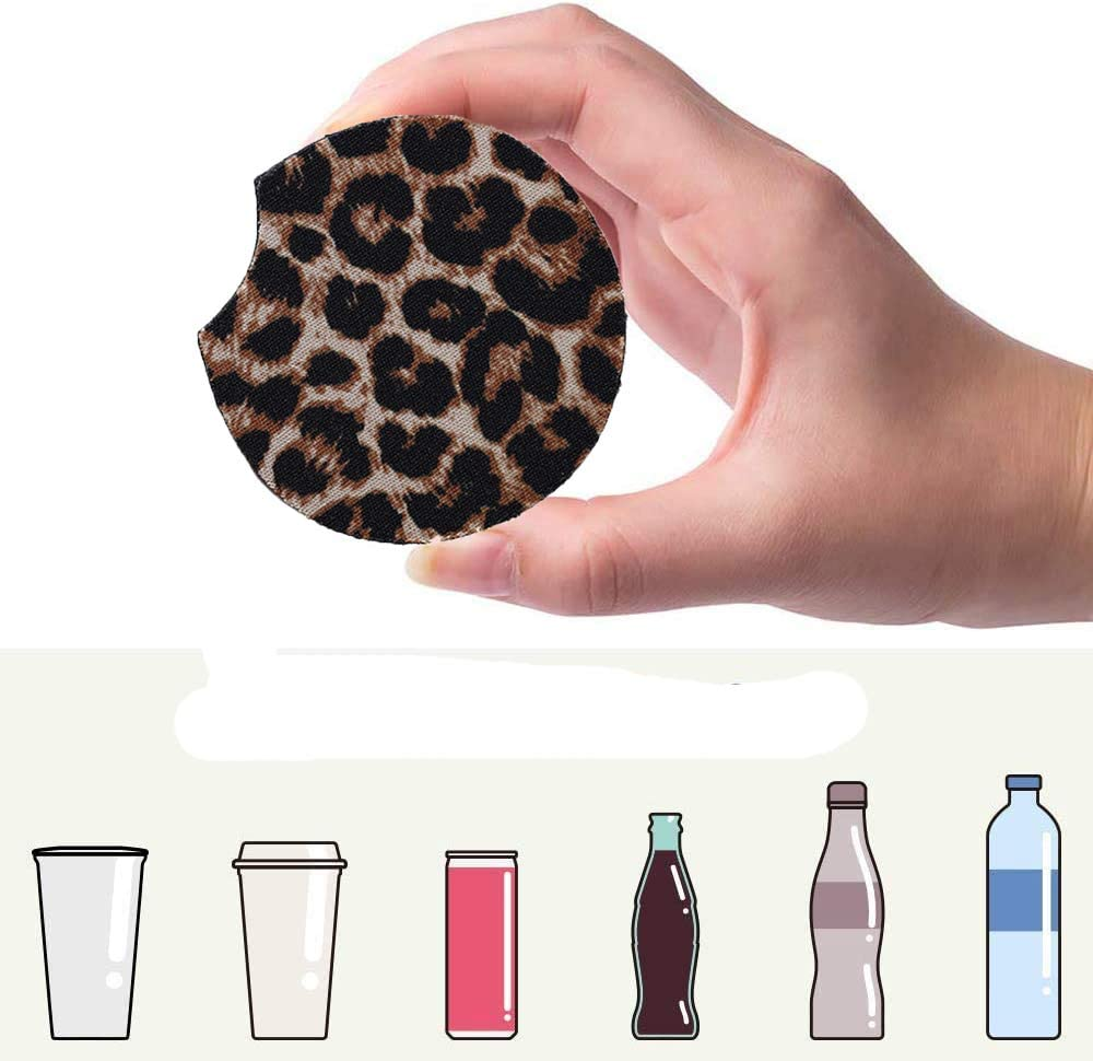 Sanpanie 2.75 inches Leopard Car Coasters for Drinks Neoprene Cup Coaster Car Cup Pad Mat Car Accessories fit for Car Truck SUV Living Room Kitchen Office 6PCS