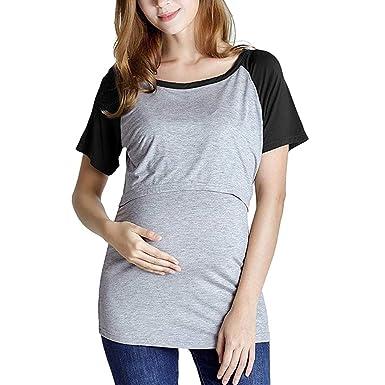 1f9c27c5593c4 Women's Maternity Shirt Short Sleeve Raglan Baseball T Shirts Breastfeeding  Nursing Tops (S, Black