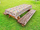 Lunarable Aquarium Outdoor Tablecloth, Colorful Tropic Pet Fishes with Coral Reefs Exotic Marine Animals of Pacific Ocean, Decorative Washable Picnic Table Cloth, 58 X 120 inches, Multicolor