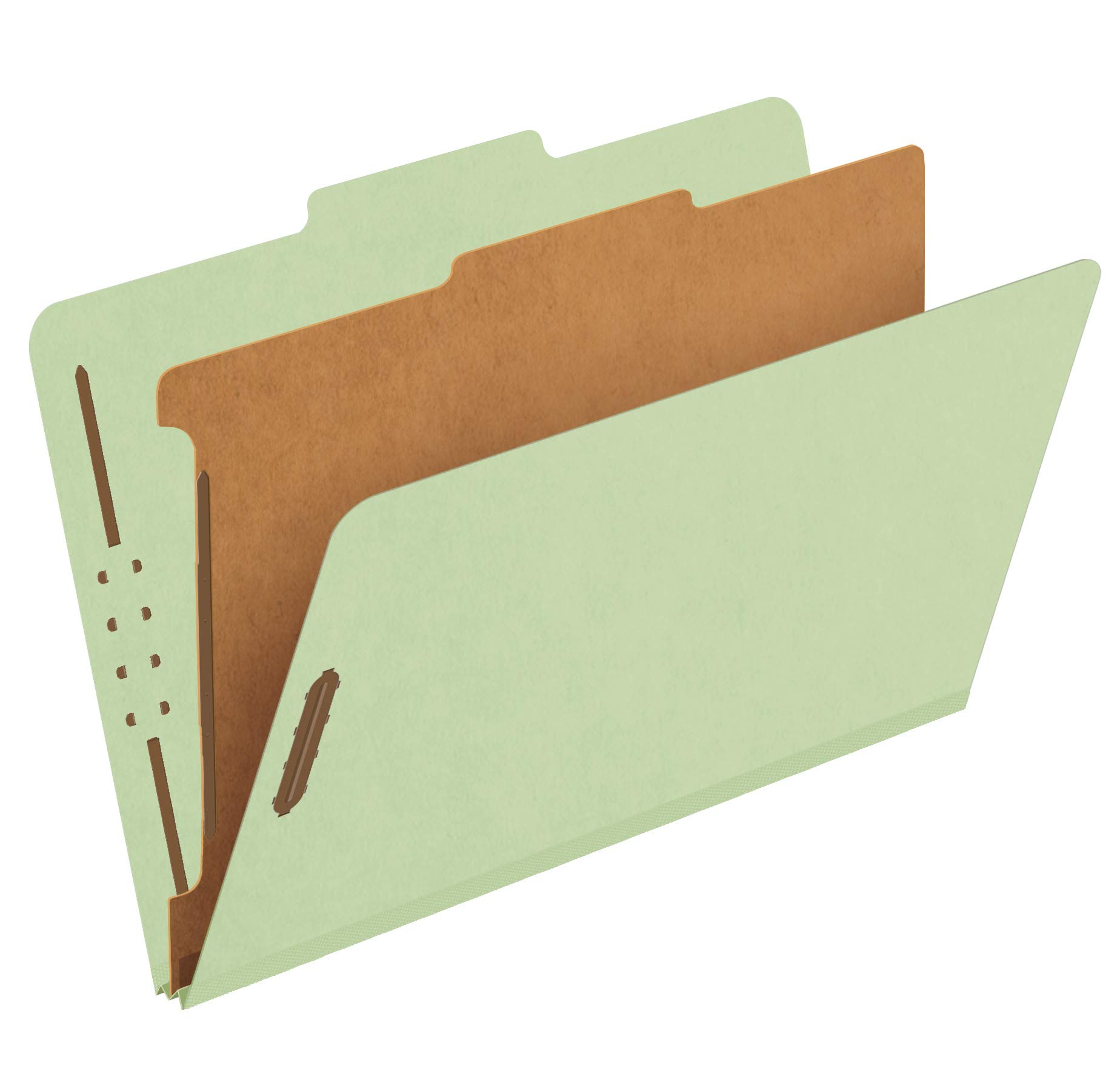 Pendaflex Recycled Classification File Folders, 1 Divider, 2'' Embedded Fasteners, 2/5 Tab Cut, Legal Size, Light Green, Box of 10 (28776R) by Pendaflex