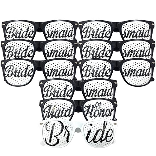 Bride & Bridesmaid Party Sunglasses - Bridal Bachelorette Wedding Party Favor Kit - Set of 9 Pairs - Themed Novelty Glasses for Memorable Moments & Fun Photos (9pc Set, Black & White)