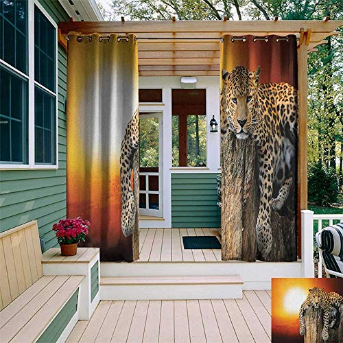 leinuoyi Safari, Outdoor Curtain Set of 2 Panels, Leopard Sitting on Dry Tree at Sunset Danger in The Air Big Cat with Spotted Form, for Pergola W120 x L96 Inch Orange Brown
