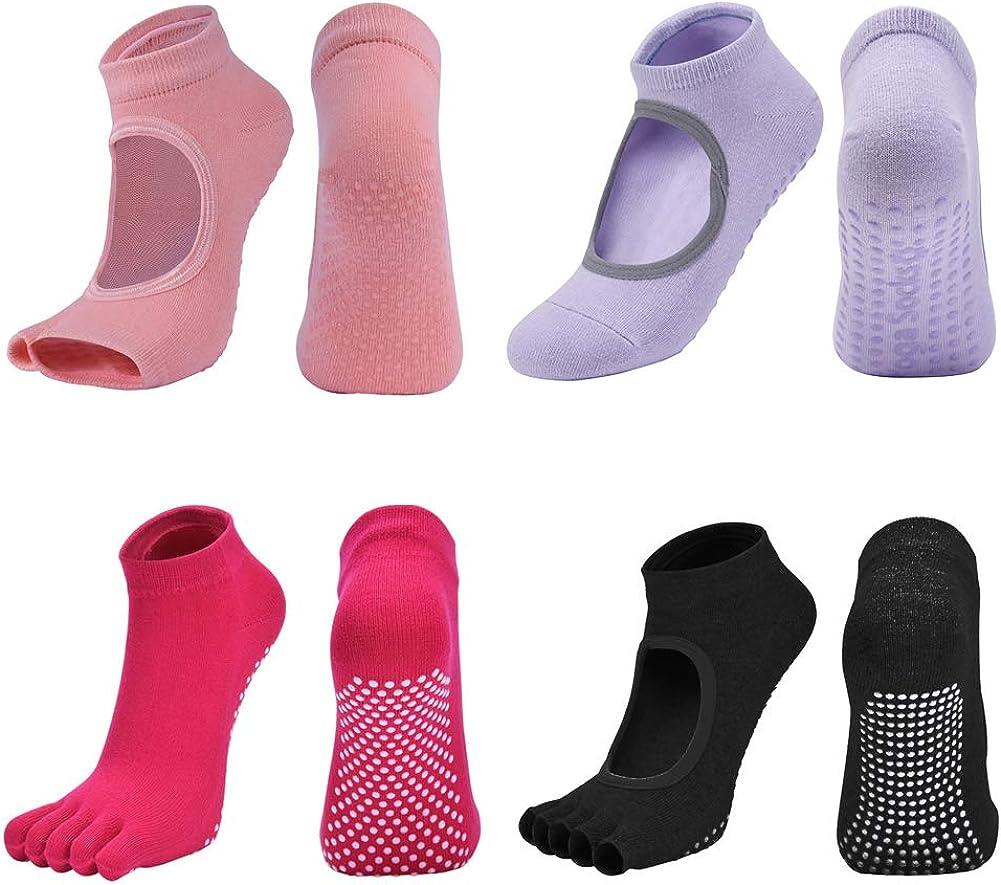 yekeup Yoga Socks Non Slip Skid Socks with Grips Pilates Ballet Barre Socks for Women Socks With Toes,Toeless,Half-toe
