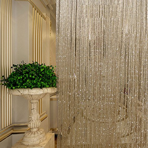 Naimo 1x2 M Door String Curtain Flat Ribbon Thread Fringe Window Panel Room Divider Cute Strip Tassel- 2pieces -