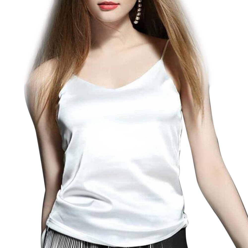 Manka Vesa Women's Basic Smooth Satin Camisole Halter Top Sexy V Neck Tank Tops White