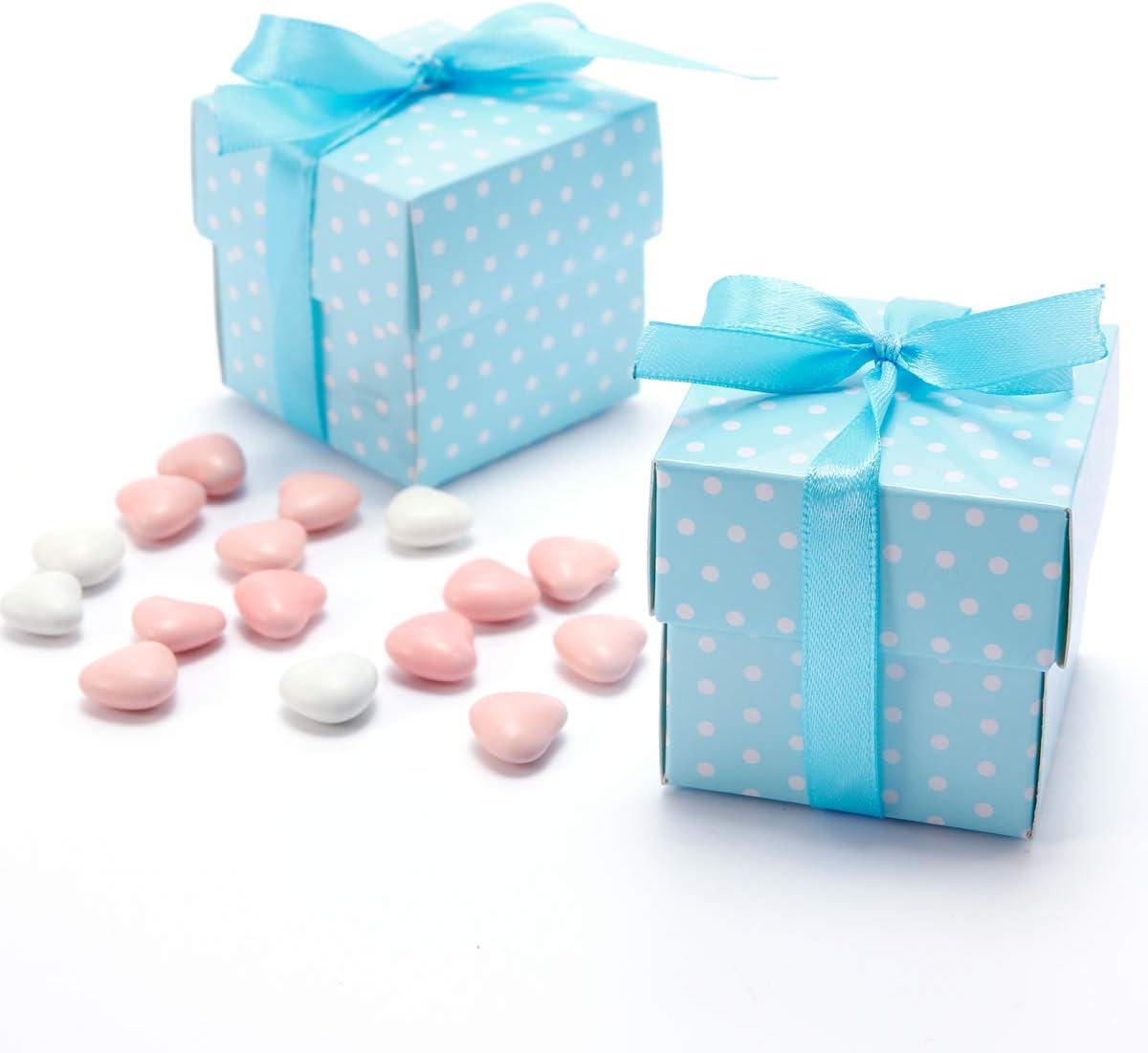 AONER Seidenb/änder Geschenkbox f/ür Hochzeit 6 * 6 * 6cm F/ü/ße - Himmelblau Pralinenschachtel s/ü/ßigkeiten Bonboniere Taufe usw 50 St/ück Gastgeschenk Box inkl