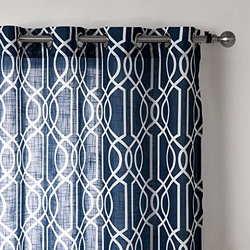 Top Choice Linen Navy Printing Window Treatment Curtains 2 panels With Gromet 52×95 inch