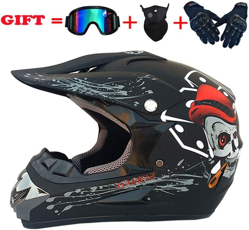 スポーツモトクロスヘルメット、フォーシーズンズユニバーサルアダルトオフロードバイク、AMマウンテンバイク万能ヘルメットゴーグルグローブマスク(4個セット)、マットブラック、M,マットブラック、Xラージ