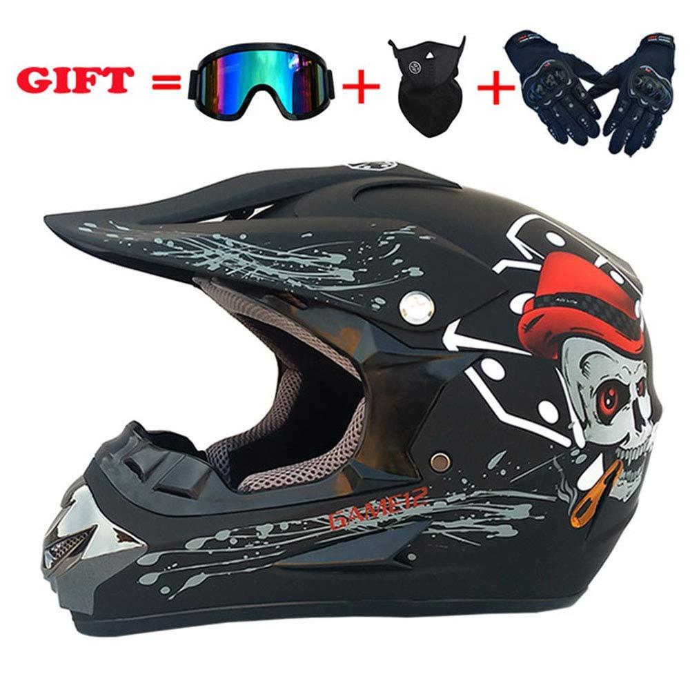 スポーツモトクロスヘルメット、フォーシーズンズユニバーサルアダルトオフロードバイク、AMマウンテンバイク万能ヘルメットゴーグルグローブマスク(4個セット)、マットブラック、M,マットブラック、ミディアム