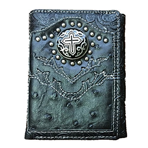 Cross Ostrich (Texas West Men's Concho Cross Trifold Wallet in Ostrich Brown and Black (Black))