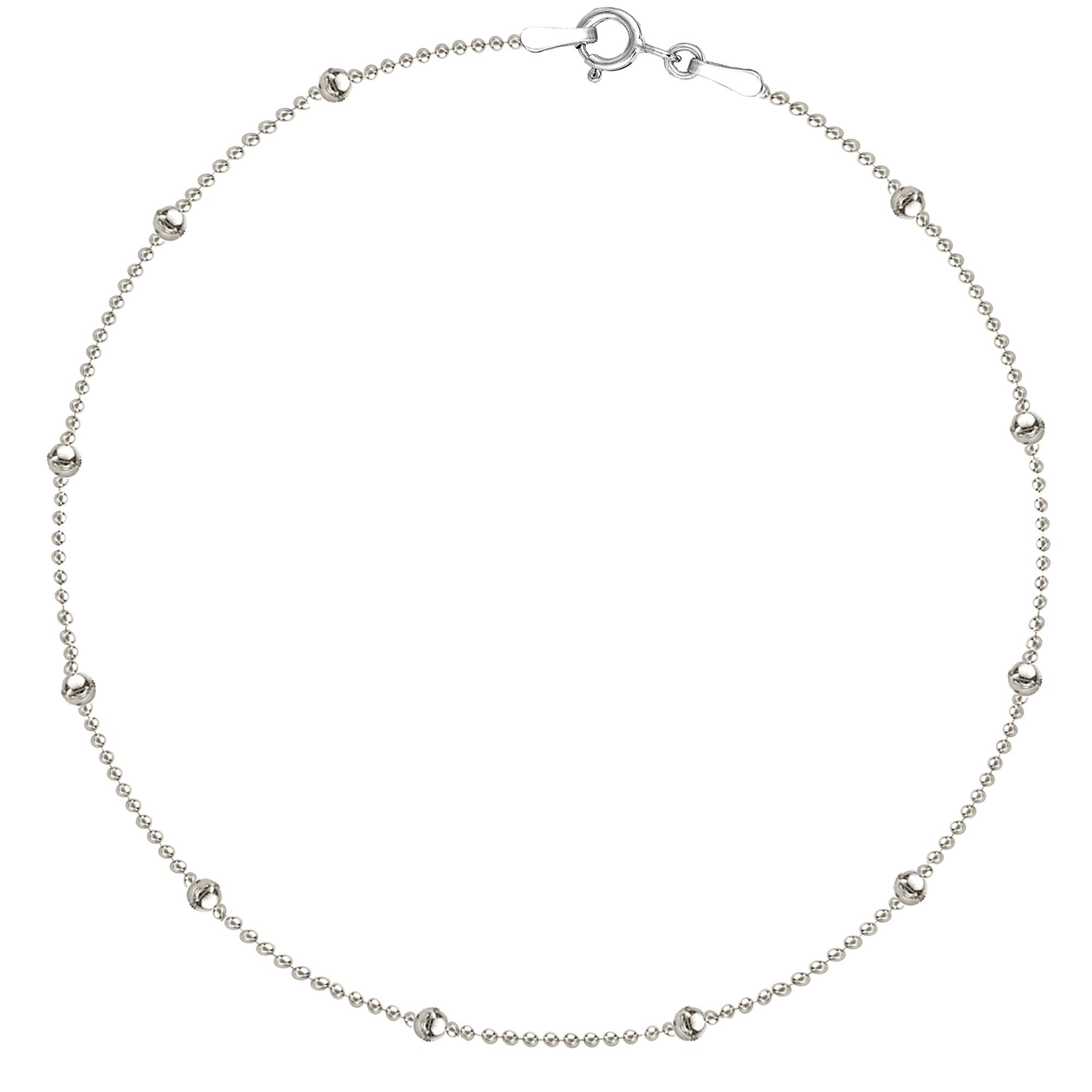 Sterling Silver Italian Ball Beaded Station Ball Anklet 10 inch