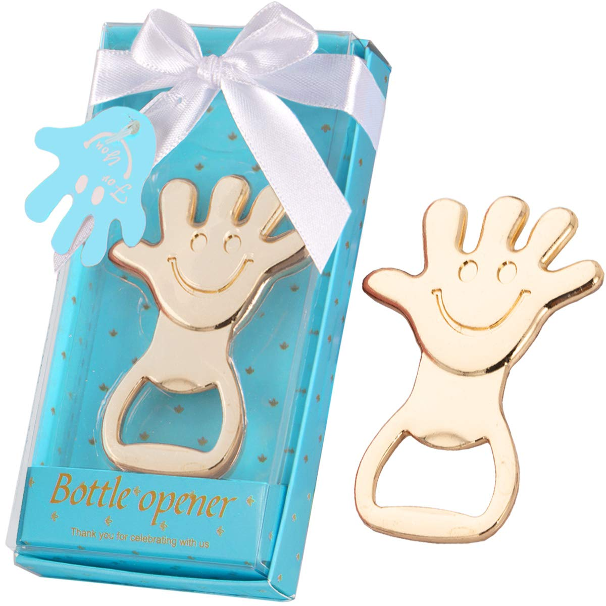 36 Pcs Baby Shower Favors for Girl Handprint Bottle Openers with Individual Gift Package, Baby Girl Newborn 1st 2nd 3rd Birthday Keepsake Creative Return Gifts Party Decoration (Handprint, Blue) by Morelegant