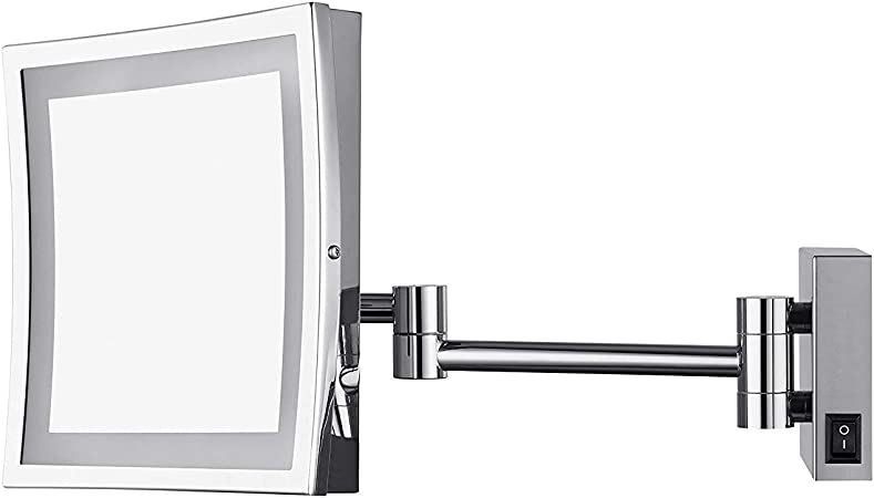 by AECHOO AECHOO 8.5-Inch Adjustable LED Lighted Wall Mount Makeup Mirror Bathroom Shaving Mirrors with 5X Magnification Chrome Finish M1807D 8.5inch,5x