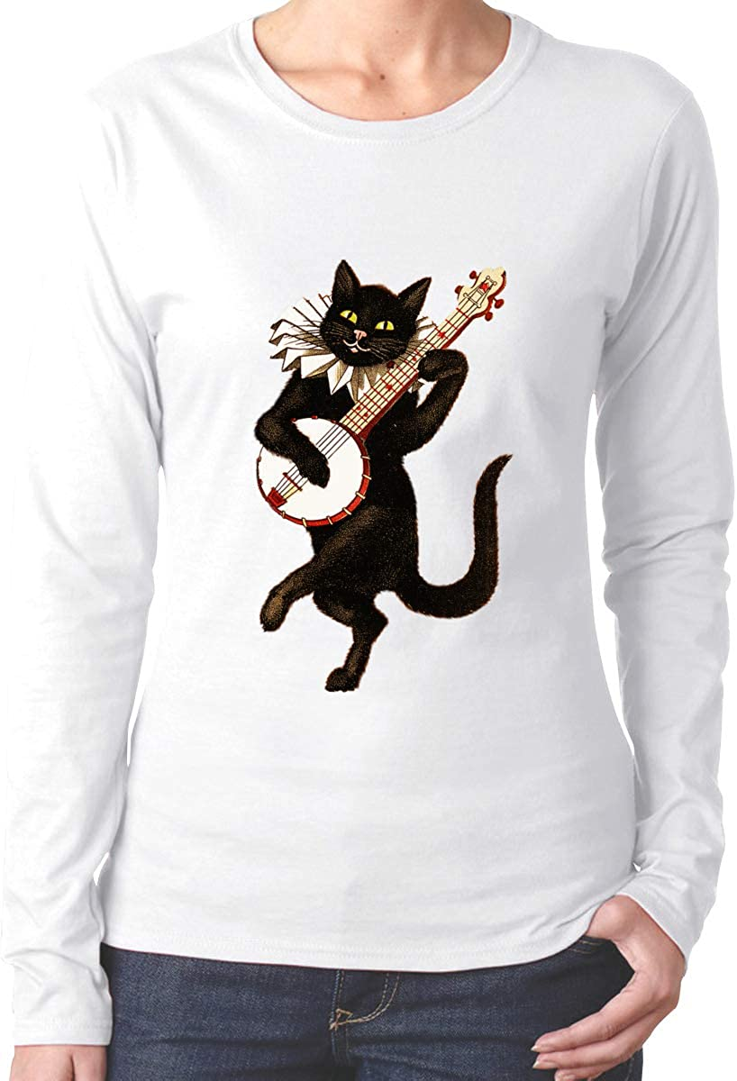 Zhenzhan Cat Playing Music Graphic Long Sleeves T Shirt Printed Relaxed Casual Tee Tops for Women