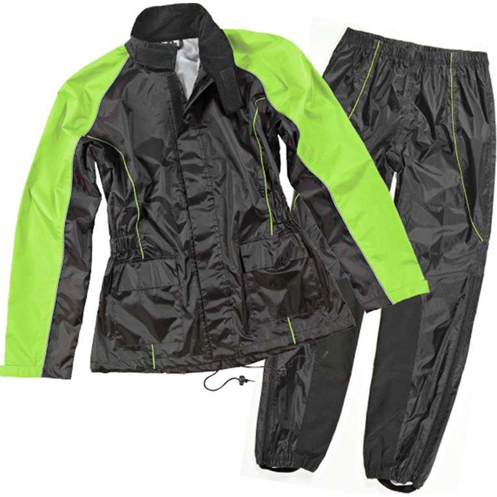 Joe Rocket RS-2 Women's 2-Piece Street Motorcycle Rain Suits - Black/Hi-Viz / Large