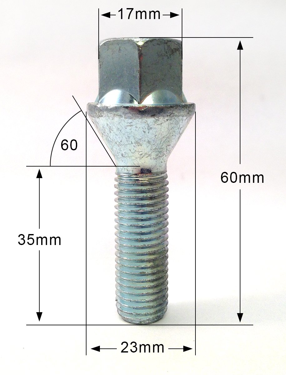 17mm Hex suitable for BMW 3 series Set of 10 extended alloy wheel bolts M12 x 1.5 thread 32mm long taper seat