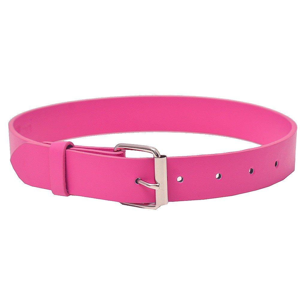 Girls Fuchsia Square Metal Buckle Closure Trendy Belt S 18-22-XL 27-34