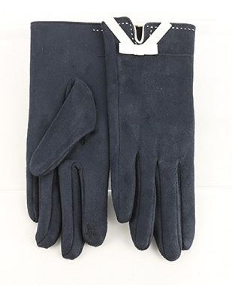 RI001 Navy Faux Suede Touchscreen Gloves