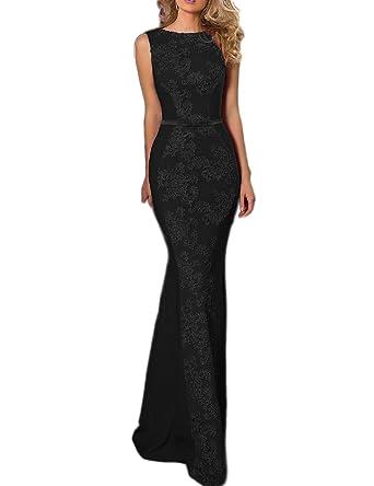 5789502ecede OYISHA Womens Long Mermaid Prom Dress Lace Evening Party Dresses Formal  EV132 Black 2