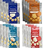 Moon Cheese, Pack of Twelve, Assortment (Cheddar, Gouda, Pepperjack, Mozzarella), 100% Cheese and Gluten Free, 2 OZ Bags