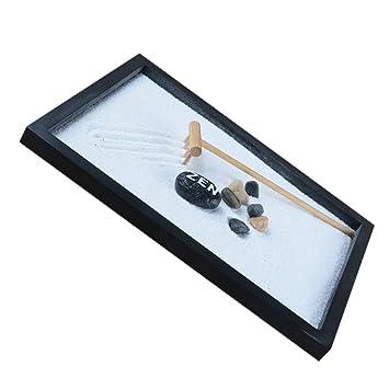 Sharplace Mini Zengarten Deko Zen Garten Set, Tablett Stein Kiesel Holz  Harke, Feng Shui