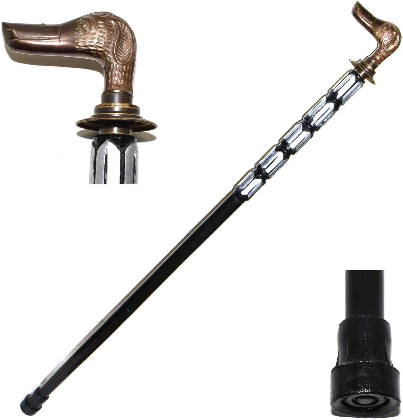 Brass Beautiful Dog Head handle Wooden brown Walking Stick Cane Classic Style