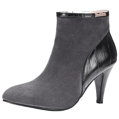 RAZAMAZA Botas Mujer Moda Tacon de Aguja de Vestir Botines Gray Size 35 Asian: Amazon.es: Zapatos y complementos