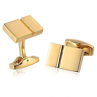Epinki Gemelos de Hombre 1 Par Rectángulo Forma Botones Camisa Mancuerna Oro 1.8x1.2CM: Amazon.es: Joyería