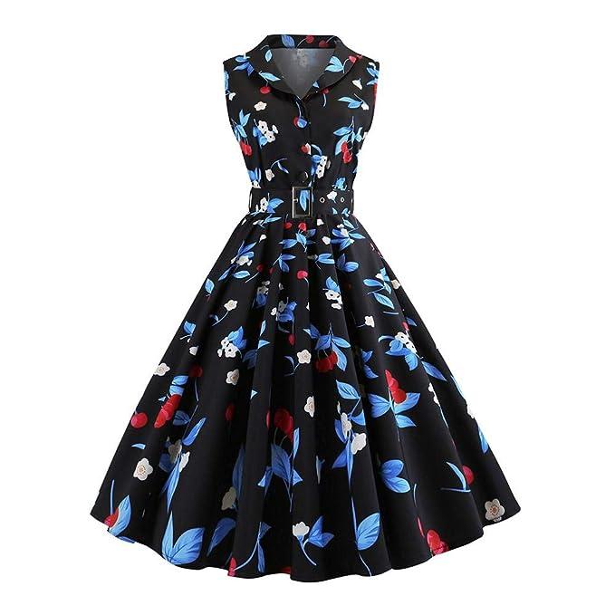 1507d25739 Biback Vestido Retro de los años 50 iBaste Vestidos de Mujer hasta la  Rodilla Retro Estilo