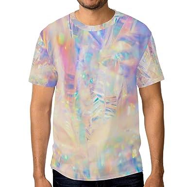 c3d38c5cf71b Men Holographic Iridescent Metallic T-Shirt Printed Short-Sleeve Crewneck  Fan XXXL Tee Shirt
